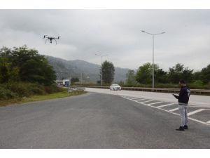 Karadeniz Sahil Yolunda 'Drone' İle Trafik Denetimi