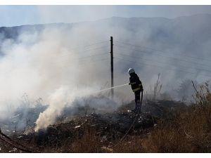Antalya'da hafriyat ve sera atıklarının döküldüğü alanda yangın