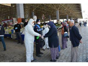 Korkuteli pazarında Korona virüs önlemi