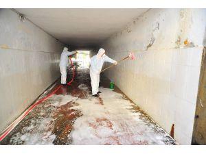 Alanya Sanayi Bölgesi ve alt geçitlerinde dezenfekte