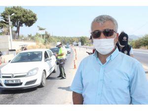 Manavgat Kaymakamı Yiğit'ten, kontrol noktasında Korona virüs denetimi