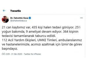 """Sağlık Bakanı Koca: """"21 Can Kaybımız Var, 435 Kişi Halen Tedavi Görüyor"""""""