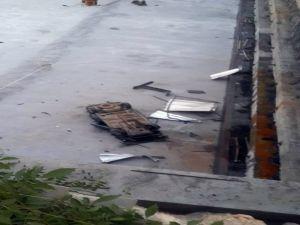 İnşaat temeline uçan otomobilin sürücüsü ağır yaralandı