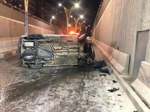 Alt Geçitte Takla Atan Otomobilden Yaralı Kurtuldu