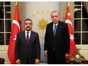 Cumhurbaşkanı Recep Tayyip Erdoğan, Türkiye Cumhuriyet Merkez Bankası (TCMB) Başkanı Şahap Kavcıoğlu'nu Çankaya Köşkü'nde kabul etti.