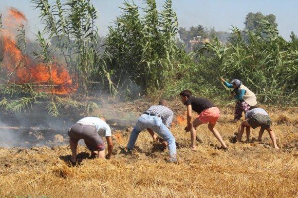 Manavgat'ta kopan yüksek gerilim hattı yangın çıkardı