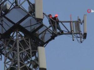 60 metrelik baz istasyonunda intihar girişimi